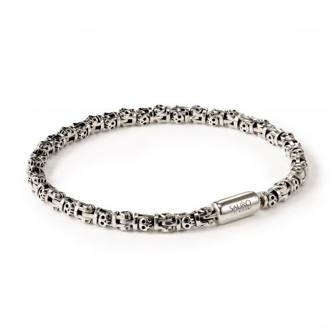 Pirata Silver Skull Link Bracelet