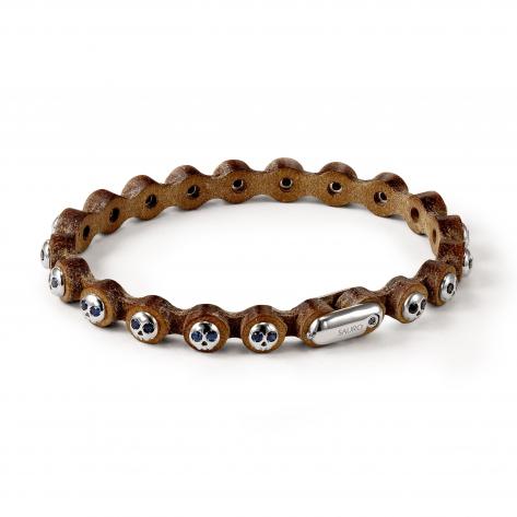 Pirata Brown Leather Bracelet with Silver Skulls and Black Diamond Eyes