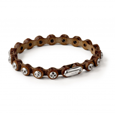 Pirata Brown Leather Bracelet with Silver Skulls