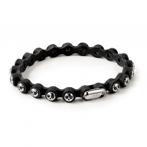 Pirata Black Leather Bracelet with Silver Skulls and Black Diamond Eyes