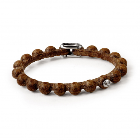 Pirata Brown Leather Sphere Bracelet
