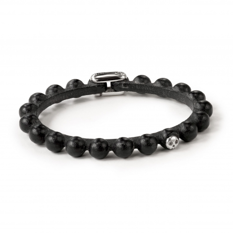 Pirata Black Leather Sphere Bracelet
