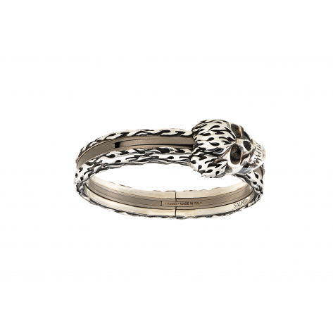 Eclisse Titanium Silver Bangle Teschio