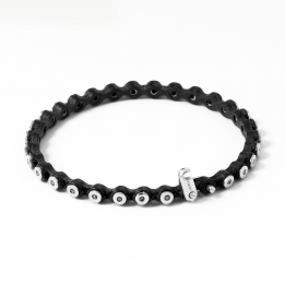 Thin Leather Silver Diamond Bracelet 363
