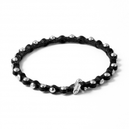 Thin Leather Silver Bracelet 365