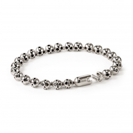 Pirata Silver Skull Bracelet with Black Diamond Eyes