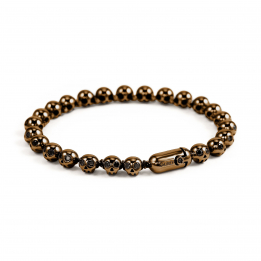 Pirata Silver Skull Bracelet with Black Diamond Eyes & Chocoolate Brown Finish