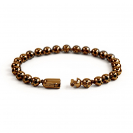 Pirata Silver Skull Bracelet with Chocolate Brown Finish