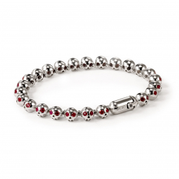 Pirata Silver Skull Bracelet with Ruby Eyes