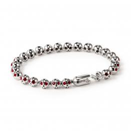 Pirata Silver Skull Bracelet with Ruby Eyes