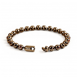 Pirata Silver Skull Bracelet with Ruby Eyes & Chocoolate Brown Finish