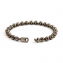 Pirata Silver Skull Bracelet with Ruby Eyes & Ruthenium Finish