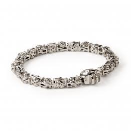 Pirata Large Silver Skull Link Bracelet