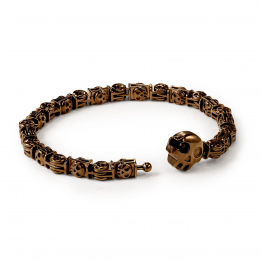 Pirata Large Silver Skull Link Bracelet with Chocolate Brown Finish