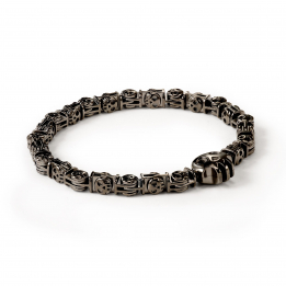 Pirata Large Silver Skull Link Bracelet with Ruthenium Black Finish