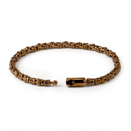Pirata Silver Skull Link Bracelet with Chocolate Brown Finish