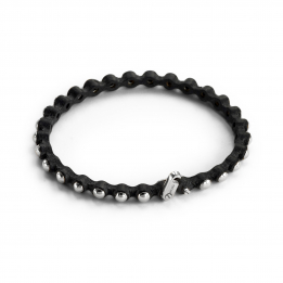 Thin Leather Silver Bracelet 363