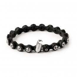Pirata Black Leather Bracelet with Silver Skulls