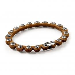 Pirata Brown Leather Side Skull Bracelet