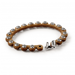 Pirata Brown Leather Side Skull Bracelet