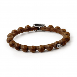 Pirata Brown Leather Sphere Bracelet with Black Diamond Eyes