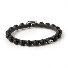 Pirata Black Leather Sphere Bracelet with Black Diamond Eyes