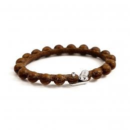 Pirata Brown Leather Sphere Bracelet with Ruby Eyes