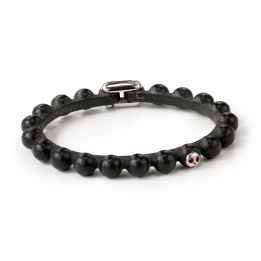 Pirata Black Leather Sphere Bracelet with Ruby Eyes